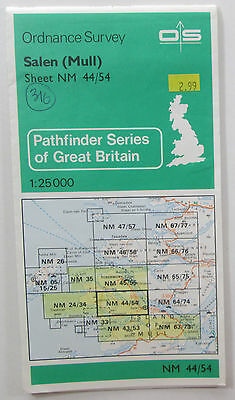1978 old vintage OS Ordnance Survey 1:25000 Pathfinder map Salen (Mull) NM 44/54