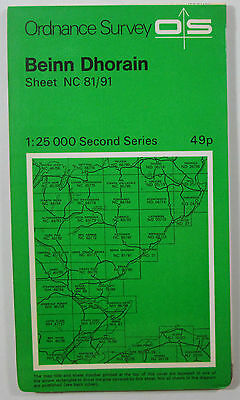 1972 old OS Ordnance Survey Second Series 1:25000 Map Beinn Dhorain NC 81/91
