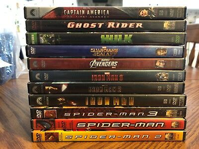 Lot Of 11 Marvel DVD'S Iron Man 1-2-3 Spiderman 1-2-3 + More