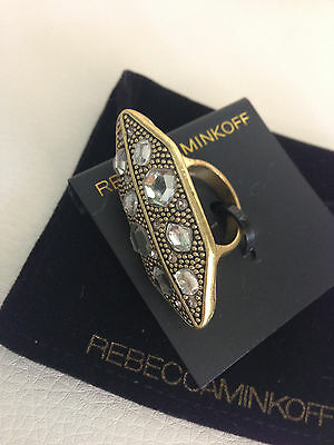 NWT Rare Sold Out Rebecca Minkoff antique brass edgy long Ring stones jewels 7