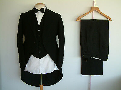 """1930's 3 PIECE MORNING SUIT..BESPOKE..38"""" x 32""""..HAND SEW..FUNCTIONAL CUFFS..FOB"""