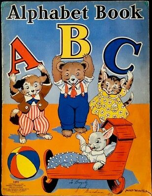 ABC ALPHABET PICTURE BOOK~ 1930's Children's Picture Lithographs Book
