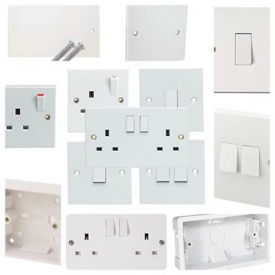 Single Double Gang White Socket Blanking Plate Switch Switched Socket Back Box
