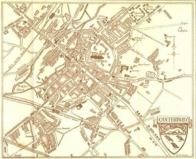 KENT. Sketch plan of Canterbury 1907 old antique vintage map chart