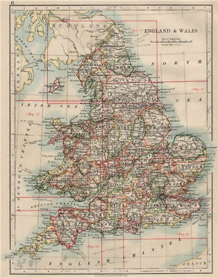 ENGLAND AND WALES. Counties. Westmorland. Telegraph cables.  JOHNSTON 1903 map