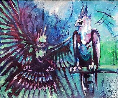 """ORIGINAL PAINTING """"Harpy Eagles"""" by De Prado Expressionist Psychedelia painting"""