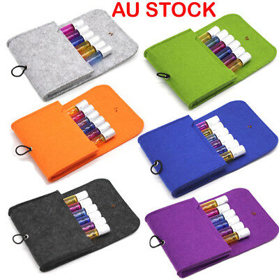 New Wool Felt Bag Essential Oil Perfume Travel Case Carrier Holds 6 Roll-On AU