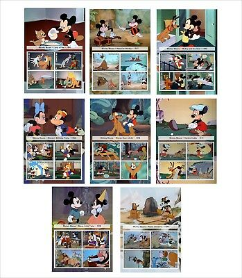 first lot DISNEY MICKEY MOUSE SHORT FILMS 16 SOUVENIR SHEETS UNPERFORATED