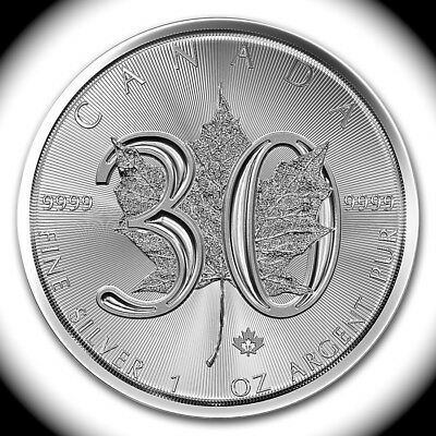 LOT of 3, 2018 CANADA 1,oz each .9999 SILVER 30th ANNi $5 COIN, GEM BU + BOXES