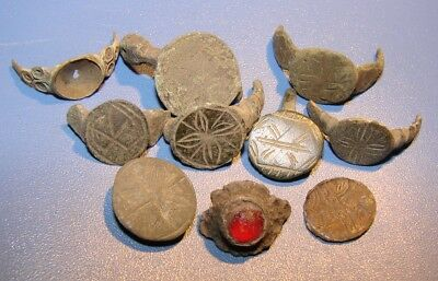 Ancient bronze fragments rings.  Middle Ages. Оriginal.