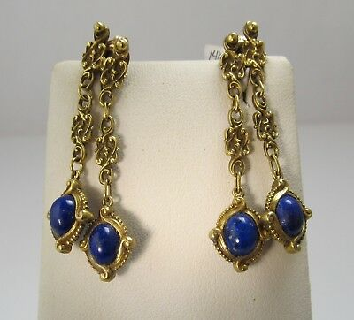 Vintage 14K Yellow Gold Lapis Drop Earrings Right Left Antique Clip On