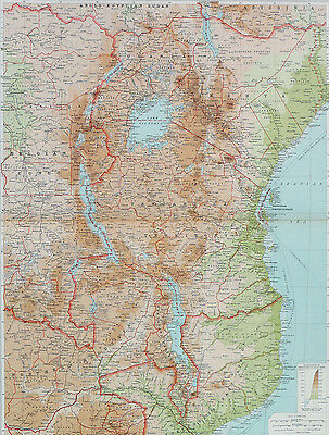 Map of Central Africa Eastern Section Large 1922 Original Antique