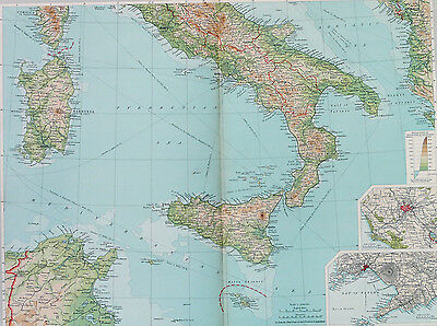 Map of Italy Southern Large 1922 Original Antique