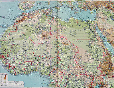 Map of North Africa Large 1922 Original Antique