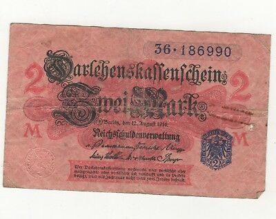 Germany 2 Mark Reichs Banknote 1914 Imperial Empire Wwi Currency