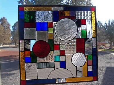 Vibrant Colors Used in this Frank Lloyd Wright Modern Stained Glass 13.5 x 13.5