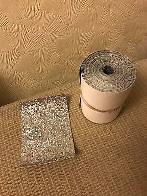 Chunky Glitter Fabric Material Roll Silver- 11cm X 430cm - Bow Craft Arts Card