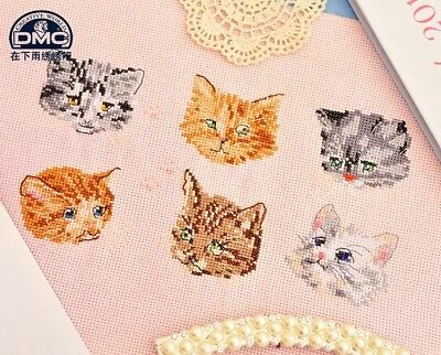Cute kitty heads cats kittens finished cross stitch pieces home decor
