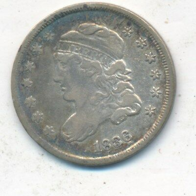1836 Capped Bust Silver Half Dime-Inverted 3-Very Nice Circulated-Ships Free!