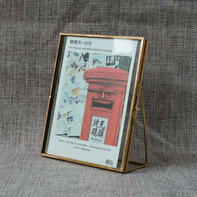Antique Gold Brass Glass Family Photo Picture Frame Vintage Home Decor Freestand