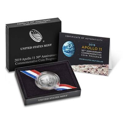 "2019-S  Apollo 11 50Th Anniversary Uncirculated Clad Half Dollar ""proof"""