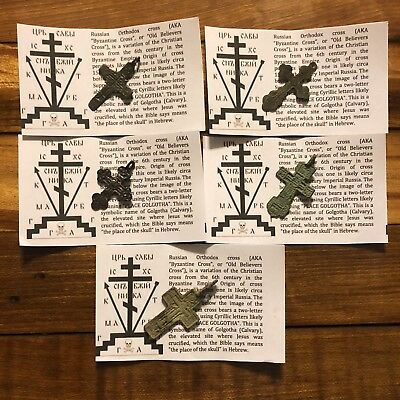 5 Medieval Cross Charms Byzantine Russian Artifact Orthodox W/ Papers Authentic