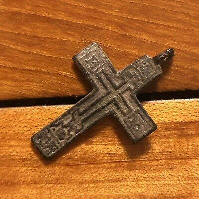 1600s Copper Cross Pendant Catholic Christian Jesus Medieval Style Writing Old C