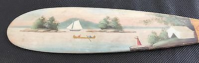 "Rare Antique Alpheus Keech Folk Art Mini 21"" Canoe Paddle Paint Decorated AAFA"