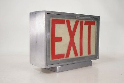 Vintage Heavy Metal Exit Sign Commercial Industrial Salvage Steampunk Warehouse
