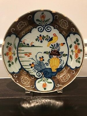 Delft Polychrome Plate, 18th C w/ central bird, vase and flowers, brown border