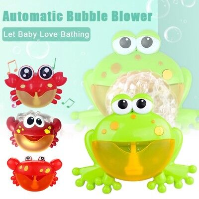 Bubble Machine Crab/Frog Automatic Bubble Maker Blower Music Bath Toys Lot U