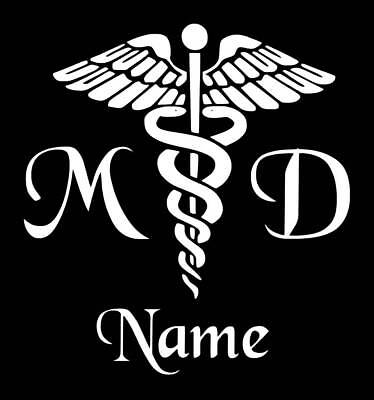 Personalized Caduceus Snake Medical Emblem Vinyl Decal Sticker MD Doctor Yeti