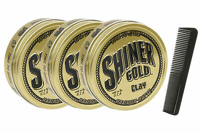 SHINER GOLD 4 Oz Matte Clay Strong Hold Pomade 3 Pack Free Comb NEW