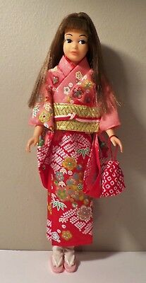 Vintage Skipper Japanese Exclusive Pink Skin Straight Leg Complete Kimono Outfit
