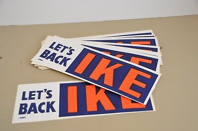 "1950s Campaign ""Let's Back Ike"" Eisenhower Bumper Sticker"