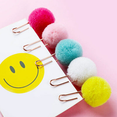 Honey 2 Pcs Kawaii Cute Hairball Gold Clip Modelling Plush Ball Paper Clip Bookmark Sealing Clamp School Supplies Stationery Clips