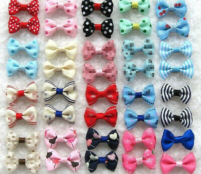 50pcs Lot Assorted Pet Cat Dog Hair Bows with Rubber Bands Grooming Accessorie