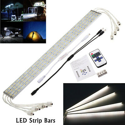 4X 12V Waterproof 5630 Led Strip Lights Cool White Bars Camping Boat + Remote AU