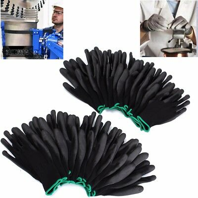 12 Pairs PU Black work gloves Safety Builders Protect Palm Coating Size S M L
