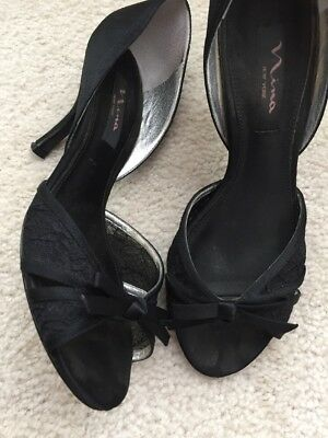 20b56d5202f Nina New York Black High Heel Peep Toe Shoes- Lace and Satin bow Size 7.5