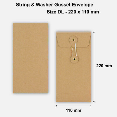 DL - Brown String & Washer Gusset Envelopes Button Tie Manilla - 220 x 110 mm