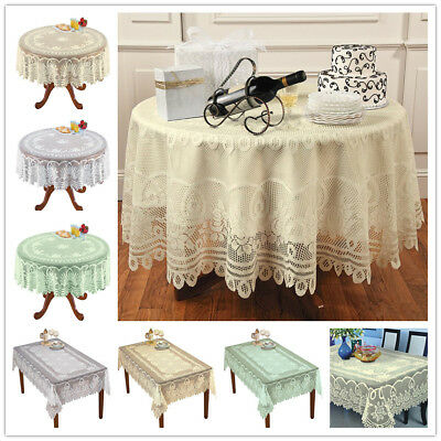 Lace Crochet Tablecloth Doily Farmhouse Round Table Cloth Wedding Cottage Decor