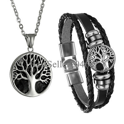 Tree of Life Celtic Pewter Religious Stainless Steel Charm Necklace Bracelet Set