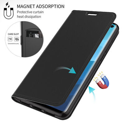 For Samsung Galaxy S10 S9 S8 Plus Magnetic Slim Flip Leather Wallet Case Cover