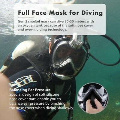Anti-Fog Full Face Mask Panoramic View Swimming Breath Dry Diving Goggle Snorkel