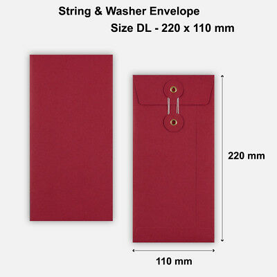 DL Size - Red Colored String & Washer Envelopes Button & Tie - 220 x 110 mm