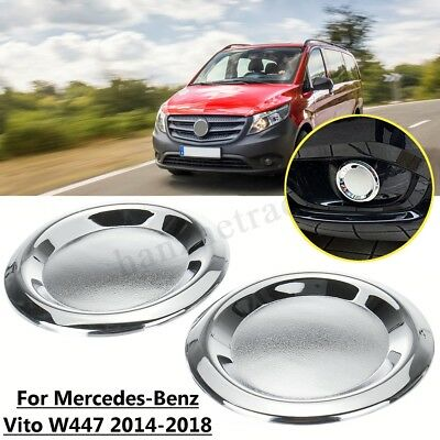 2x Front Chrome Fog Light Lamp Cover Trim For Mercedes-Benz Vito W447 2014-2018