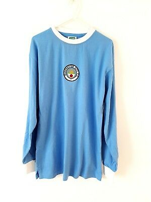 Manchester City Retro Home Shirt. Small Adults. Score Draw. Blue Football Top S.