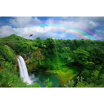 Waterfall Rainbow Forest Backdrop Event Portrait Photography Background 9x6ft