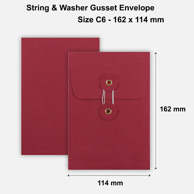 C6 Size Quality String&Washer With Gusset Envelope Button & Tie RED